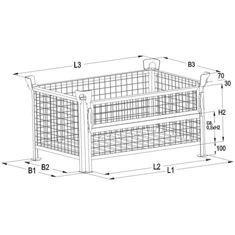 Gitterbox HESON®, Wände feststehend, feuerverzinkt