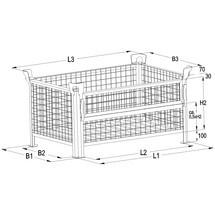 Gitterbox HESON®, Wände feststehend, lackiert, HxBxT 600 x 1.200 x 1.000 mm