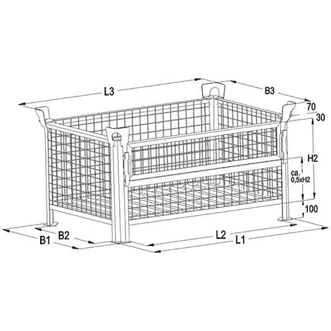 Gitterbox,4 feste Wände, TK 1000kg, 1200x800x600mm, lackiert