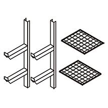 Gitterrostregal für halbe Breite