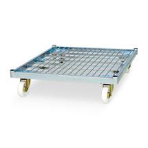 Gitterwagen mit 4 Wänden. 2 halbhohe, einzeln schwenkbare Vorderwände. Tragkraft 500 kg, Wahlweise mit Kunststoff-Rollplatte (5 Farben zur Auswahl) oder Holz-Rollplatte oder Stahl-Rollplatte