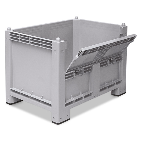 Großbox mit Füßen + Kommissionierklappe. Maß 1200x800x850mm, grau