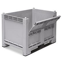 Großbox mit Kufen + Kommissionierklappe. Maß 1200x800x850mm, grau