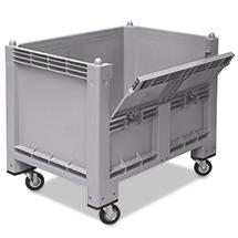 Großbox mit Rollen + Kommissionierklappe. Maß 1200x800x1000mm, grau
