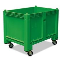 Grote container met wielen + orderpickklep. Afmetingen 1200x800x1000 mm, grijs