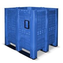 Grote container, opengewerkt en met sledes. Afmetingen 1300 x 1150 x 1250 mm. Inhoud 1400 Liter