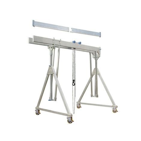 Gru a portale in alluminio con doppio supporto divisibile, mobile