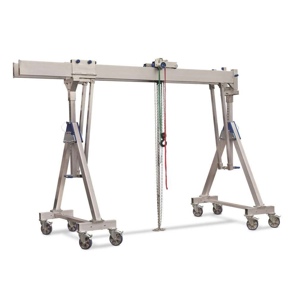 Gru a portale in alluminio con doppio supporto, mobile