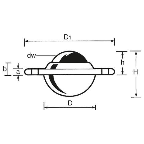 guľový valec s montážnym otvorom