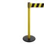 Gurt-Absperrpfosten RS-GUIDESYSTEMS®, Bodenteller aus Guss, Gurtbreite 100 mm