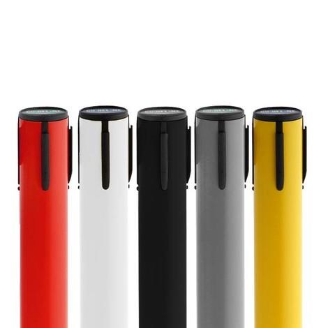Gurt-Absperrpfosten RS-GUIDESYSTEMS®, Bodenteller aus Verbundwerkstoff, Gurtbreite 100 mm