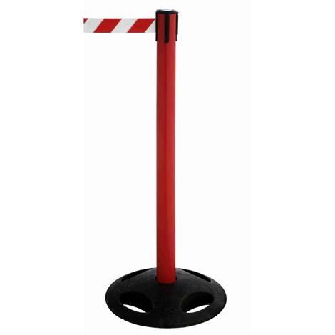 Gurt-Absperrpfosten RS-GUIDESYSTEMS®, Bodenteller aus Verbundwerkstoff, Gurtbreite 50 mm