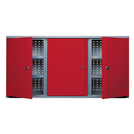 Hängeschrank mit 3 Lochrückwänden + 3 Türen. Breite 1200 mm
