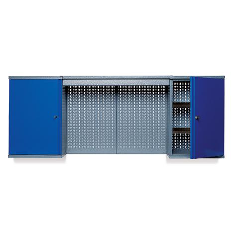 Hängeschrank mit 4 Lochrückwänden + 2 Türen. Breite 1600 mm