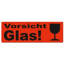 """Haftetiketten """"Vorsicht Glas, mit Kelch"""""""