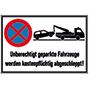 """Halteverbotsschild """"Unberechtigt geparkte..."""", alu geprägt, BxH 60x40cm"""