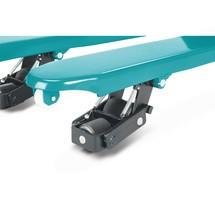 Handhubwagen Ameise® 4-Wege, Gabellänge 1.150 mm, Polyurethan, Einfachrollen, RAL 5018 türkisblau, B-Ware