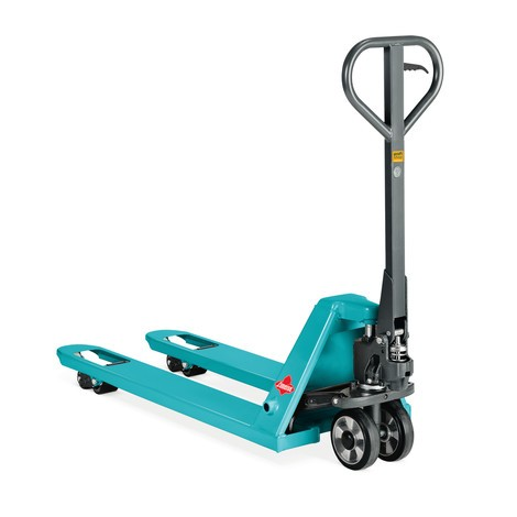 Handhubwagen Ameise® mit Schnellhub, TK 2.000 kg, GL 1.150 mm, Nylon, Einfachrollen, RAL 5018 türkisblau, B-Ware