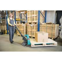 Handhubwagen Ameise® mit Schnellhub, Tragkraft 2.000 kg, Gabellänge 1.150 mm, Vollgummi/Polyurethan, Einfachrollen, RAL 5018 türkisblau, B-Ware