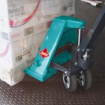 Handhubwagen Ameise®, TK 2.000 kg, GL 1.150 mm, Vollgummi/Polyurethan, Tandemrollen, RAL 5018 türkisblau, B-Ware