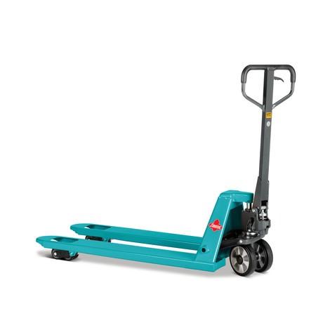 Handhubwagen Ameise®, TK 2.500 kg, GL 1.150 mm, Vollgummi/Polyurethan, Tandemrollen, RAL 5018 türkisblau, B-Ware