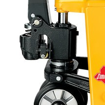 Handhubwagen Ameise®, Tragkraft 2.000 kg, Gabellänge 800 mm, Vollgummi/Polyurethan, Tandemrollen, RAL 1028 melonengelb