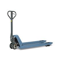 Handhubwagen, Tragkraft 2000 kg, Lenkrollen Vollgummi, Tandem-Gabelrolle PU