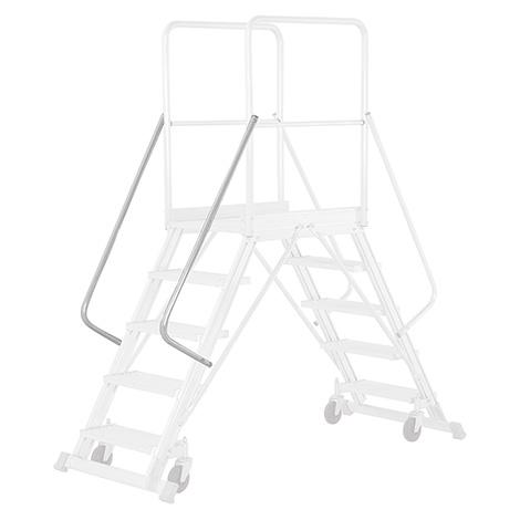 Handlauf für Podestleiter HYMER ® mit Geländer + Rollen. Für links oder rechts