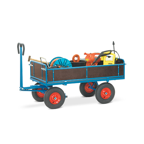Handpritschenwagen fetra® mit 4 Bordwänden. Tragkraft bis 1250 kg