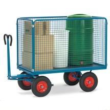 Handtrekwagen fetra® met 4 gaasroosterwanden. Capaciteit tot 1250 kg