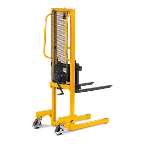 Handwinden-Stapler mit Lastgabeln. Tragkraft bis 500 kg, gelb