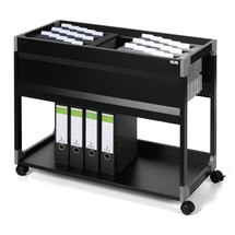 Hanging file trolley with 1 or 2 suspension rails