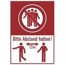 Hinweis-Kombischild, Bitte mind. 1,5 Meter Abstand halten!