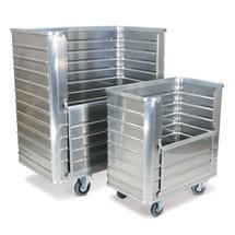 Hliníkový skříňový vozík sčástečně sklápěcí bočnicí