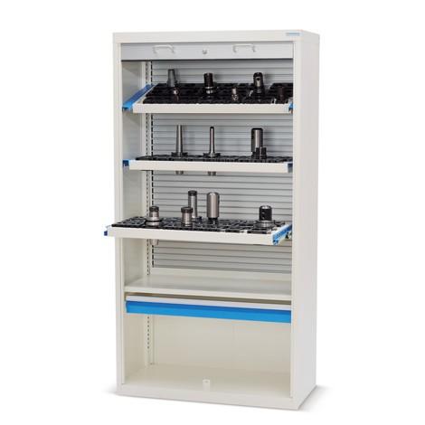 Hoge garderobe voor CNC gereedschap met kunststof rolluiken, HxBxD 1.950 x 1.000 x 500 mm