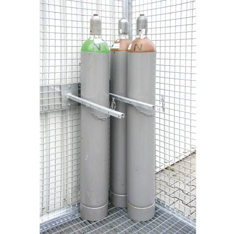 Holdeanordning til gasflaske container med tag