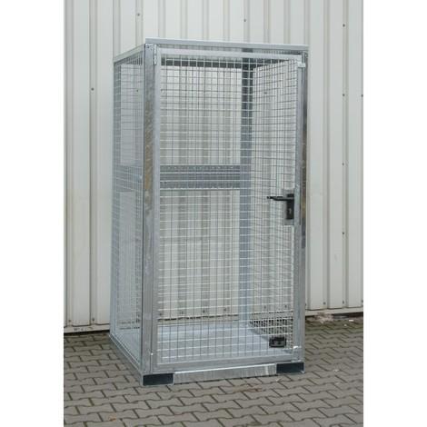 Holdeanordning til gasflaskecontainer med tag med gaffeltrucklommer