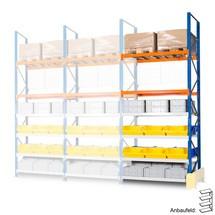 Hybridpallställ, extra brett hyllplan och lastpallställ, påbyggnadssektion