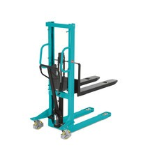 Hydraulik-Stapler Ameise® Einfach-Mast, Hub 1.000 mm, Tragkraft 1.000 kg, RAL 5018 türkisblau, B-Ware