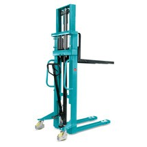 Hydraulik-Stapler Ameise® Zweifach-Teleskopmast, Hub 3.000 mm, RAL 5018 türkisblau, B-Ware