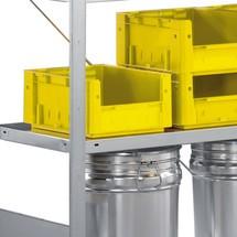 Hylde til hyldereolen META stiksystem, hyldebelastning 230 kg, lysegrå