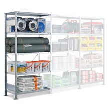 Hyllställ SCHULTE skruvlöst system, påbyggnadssektion, hyllplanslast 330kg, förzinkat