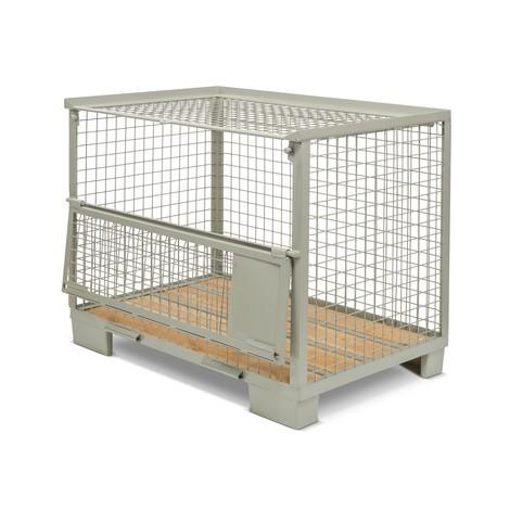 Industrie-Gitterbox, halb abklappbare Längswand