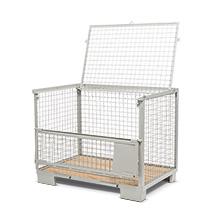 Industrie-Gitterbox mit Deckel, 1 Längswand halb abklappbar