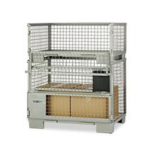 Industrie-Gitterbox mit voll klappbarer Längswand. Höhe 500 mm