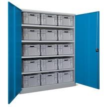 Industrie-Schwerlastschrank PAVOY Premium mit Mittelwand, 8 Fachböden, HxBxT 1.950 x 1.470 x 630 mm