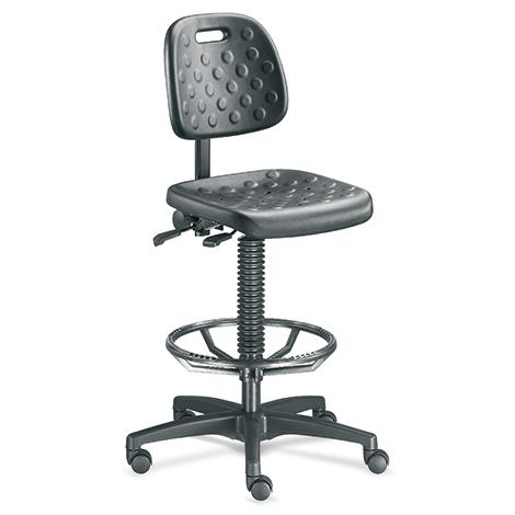 Industriedrehstuhl, atmungsaktiv, Rollen+Fußring, H 450-650mm