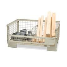 Industriële gitterbox met half neerklapbare lengtewand