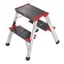 Inklapbaar trapje Hailo® van aluminium. 2 x 2 of 3 treden. Capaciteit tot 225 kg