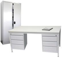 Inrichtingsset, bureau inclusief ondergarderobe en scharnierende deurkast